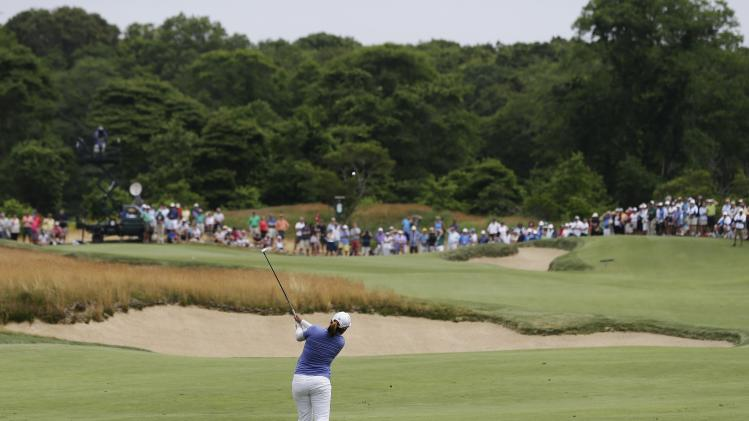 Inbee Park, of South Korea, hits off the seventh fairway during the final round of the U.S. Women's Open golf tournament at the Sebonack Golf Club Sunday, June 30, 2013, in Southampton, N.Y. (AP Photo/Frank Franklin II)
