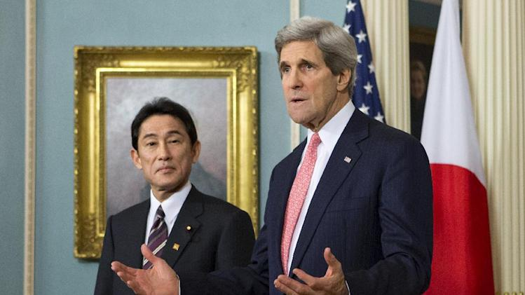 Secretary of State John Kerry meets with Japan's Foreign Minister Fumio Kishida, Friday, Feb. 22, 2013, at the State Department in Washington.   (AP Photo/J. Scott Applewhite)