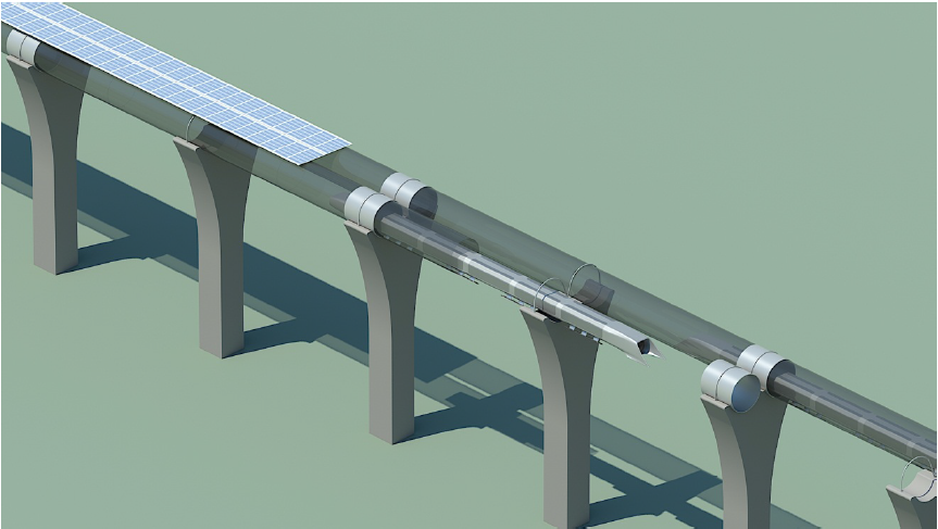 Hyperloop capsule in tube cutaway with attached solar rays