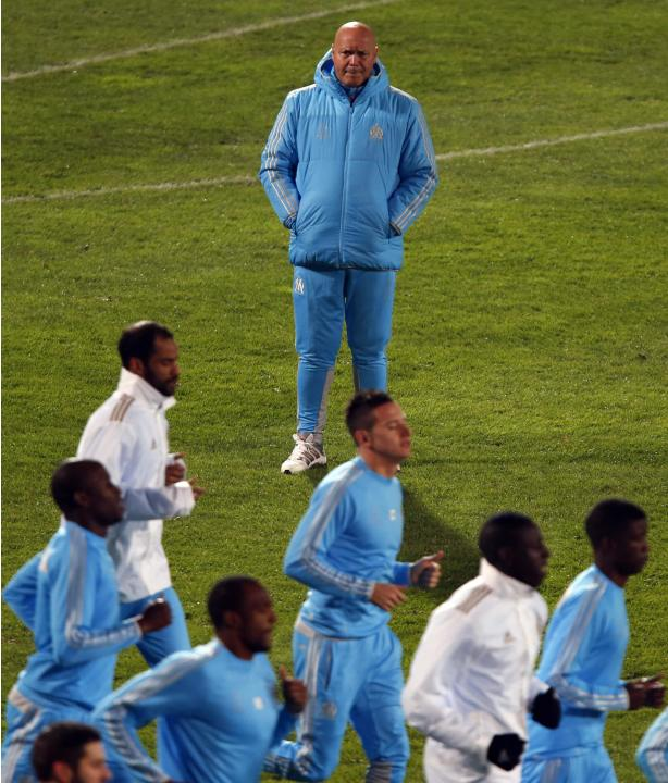 Olympique Marseille sports director and new coach Anigo directs players during a training session in Marseille