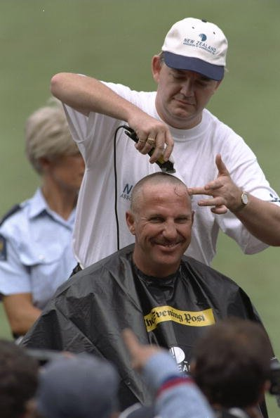 4 March 1997:  Retired England all rounder Ian Botham gets his head shaved for charity on the day of the fifth one day international between New Zealand and England at Wellington, New Zealand. \ Manda