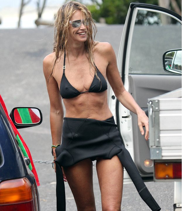 Celebrities in bikinis: Elle 'the body' MacPherson showed off her slender frame in a string bikini – her legs appear to go on forever!