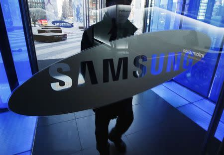 A man walks at the Samsung Electronics' headquarters in Seoul
