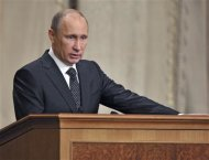 Russian President Vladimir Putin speaks during a meeting with officers and defence officials at the General Staff Academy in Moscow February 27, 2013. REUTERS/Alexei Nikolsky/Ria Novosti/Pool