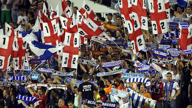 Real Zaragoza fans support their side from the stands