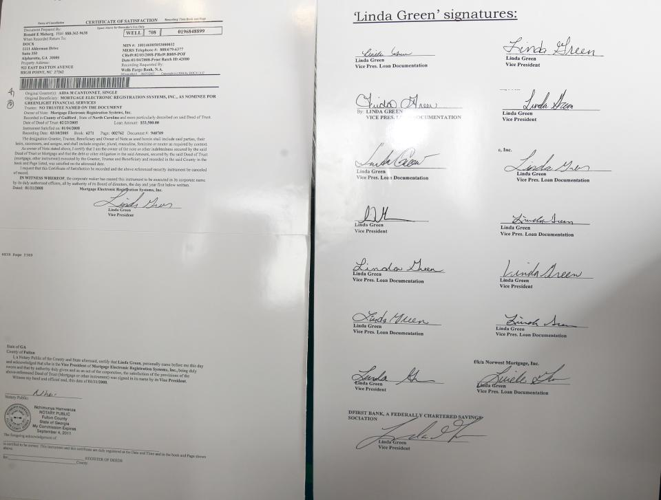 "In this May 12, 2011 photo, signatures on different loan documents all ""signed"" by Linda Green are shown in Charlotte, N.C. (AP Photo/Chuck Burton)"