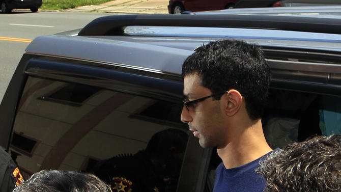 Dharun Ravi, 22, arrives at the Middlesex County sheriff's department  in New Brunswick, N.J., Thursday, May 31, 2012. The former Rutgers University student convicted of using a webcam to spy on his gay roommate reported to the sheriff on his way to jail. Ravi arrived at the sheriff's department shortly after 12:30 p.m. to be fingerprinted and photographed before being driven to the county jail to serve a 30-day term. (AP Photo/Mel Evans)