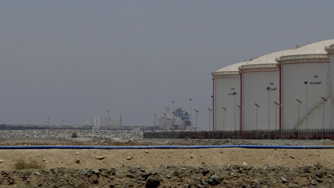 FILE - In this Wednesday, May 30, 2012 file photo, a ship docks at the refueling station in Fujairah, United Arab Emirates. The United Arab Emirates on Sunday inaugurated a much-anticipated overland oil pipeline that bypasses the Strait of Hormuz, giving the OPEC member insurance against Iranian threats to block the strategic waterway. (AP Photo/Kamran Jebreili, File)