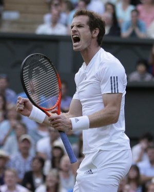 Andy Murray of Britain reacts during his Men's singles…