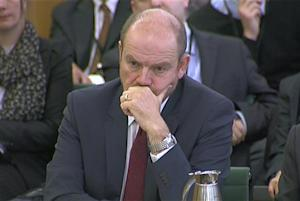 Former director general of the BBC, Mark Thompson is seen attending a Public Accounts Committee hearing at Parliament in this still image taken from video in London