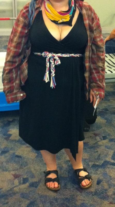 In this Spring 2012 photo provided by a woman identified as Avital and made available to the blog Jezebel, Avital poses for a picture at McCarran International Airport in Las Vegas, showing what she was wearing after she says a Southwest Airlines gate agent approached her, alleging she was showing too much cleavage. Airlines give many reasons for refusing to let you board, but none are stirring as much debate in 2012 than how a passenger is dressed. (AP Photo/Courtesy of Avital)