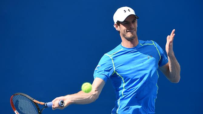 Andy Murray plays a shot during a training session on day 12 of the Australian Open in Melbourne on January 30, 2015