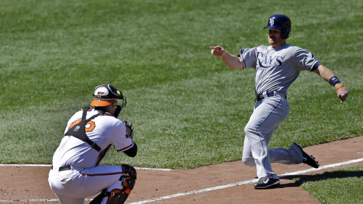 Tampa Bay Rays' Logan Forsythe, right, can't beat the throw to Baltimore Orioles catcher Matt Wieters on a fielder's choice ground ball by Ben Zobrist in the seventh inning of a baseball game, Wednesday, April 16, 2014, in Baltimore. Baltimore won 3-0. (AP Photo/Patrick Semansky)