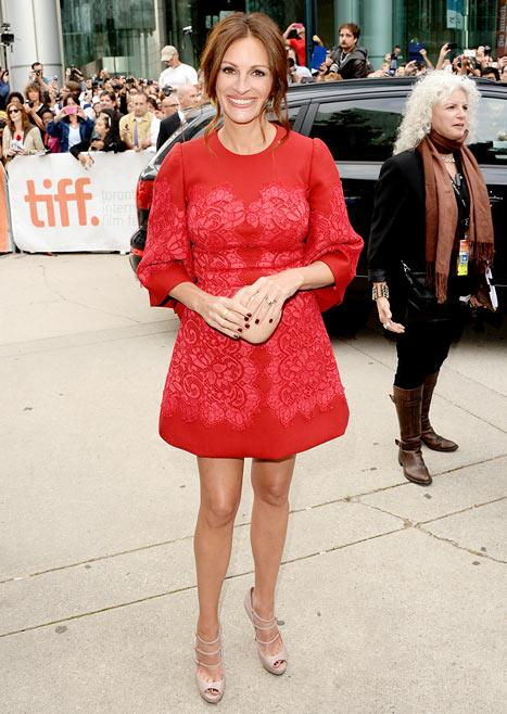 Julia Roberts Wears Red Mini Dress, Reunites with My Best Friend's Wedding Costar Dermot Mulroney