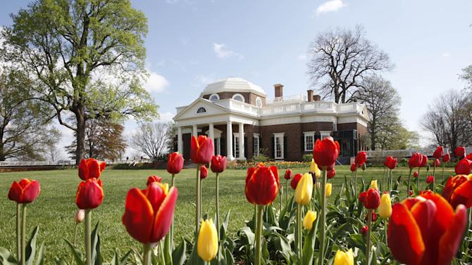 """FILE- This April 22, 2009, file photo, shows former President Thomas Jefferson's home, Monticello, in Charlottesville, Va. Jefferson and George Washington both grew hemp and puzzled over the best ways to process it for clothing and rope. Indeed, cannabis has been grown in America since soon after the British arrived. Jefferson went on to invent a device for processing hemp in 1815. On the occasion of  """"Legalization Day,"""" Thursday, Dec. 6, 2012, when Washington's new law takes effect, AP takes a look back at the cultural and legal status of the """"evil weed"""" in American history. (AP Photo/Steve Helber, File)"""