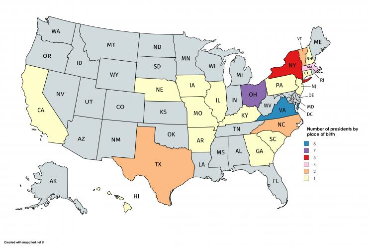 MAP: Where every US president was born
