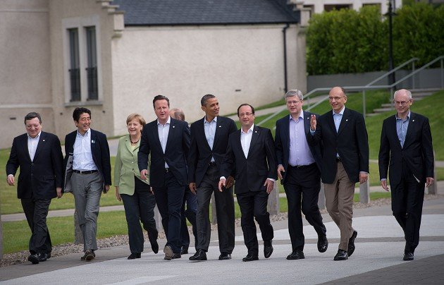 G8 leaders gather for a group photo opportunity during the summit at the Lough Erne golf resort in Enniskillen, Northern Ireland