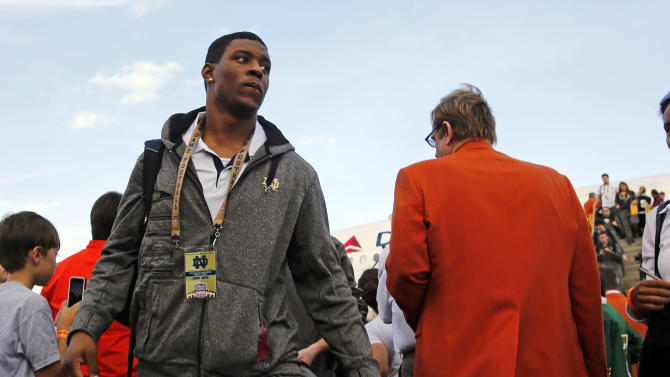 Notre Dame wide receiver Andre Smith arrives in Fort Lauderdale, Fla., Wednesday, Jan. 2, 2013. Notre Dame is scheduled to play Alabama in the BCS national championship NCAA college football game next Monday in Miami. (AP Photo/Alan Diaz)