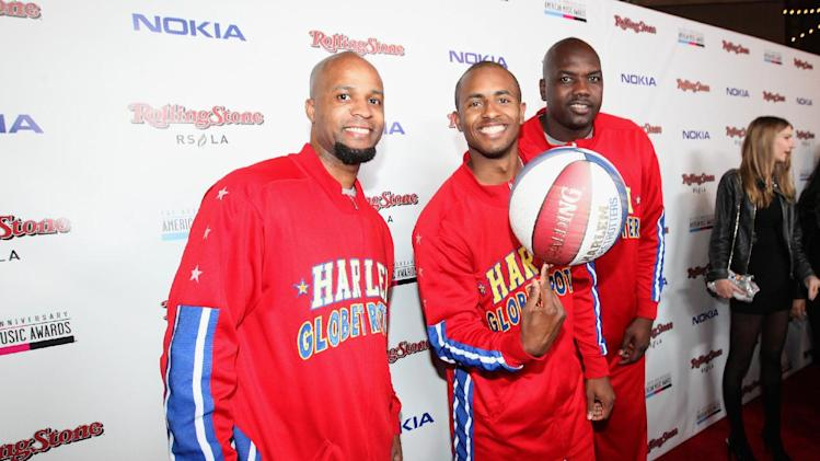 Harlem Globetrotters arrive at the Rolling Stone American Music Awards After Party, on Sunday, Nov. 18, 2012 in Los Angeles. (Photo by Casey Rodgers/Invision for Nokia/AP Images) **Please include any additional event details in the second sentence of the caption.