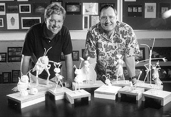 Directors Andrew Stanton and John Lasseter behind the scenes of Walt Disney's A Bug's Life