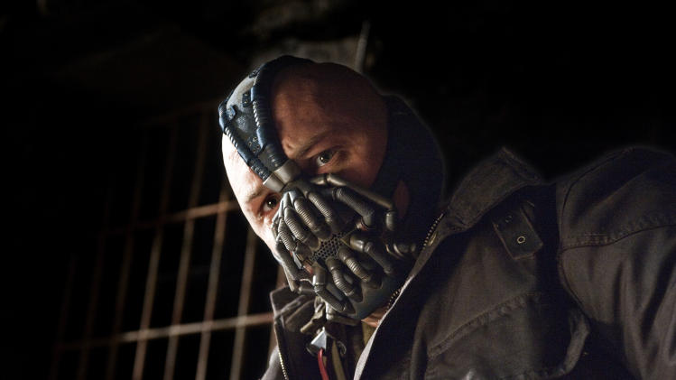 "This undated film image released by Warner Bros. Pictures shows Tom Hardy as Bane in a scene from the action thriller ""The Dark Knight Rises."" (AP Photo/Warner Bros. Pictures, Ron Phillips)"