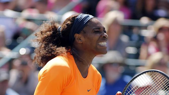 Serena Williams reacts after winning the Family Circle Cup against Jelena Jankovic, of Serbia, during the singles final at the Family Circle Cup tennis tournament in Charleston, S.C., Sunday April 7, 2013.  Williams defeated Jankovic 3-6, 6-0, 6-2, to win the Family Circle Cup. (AP Photo/Mic Smith)