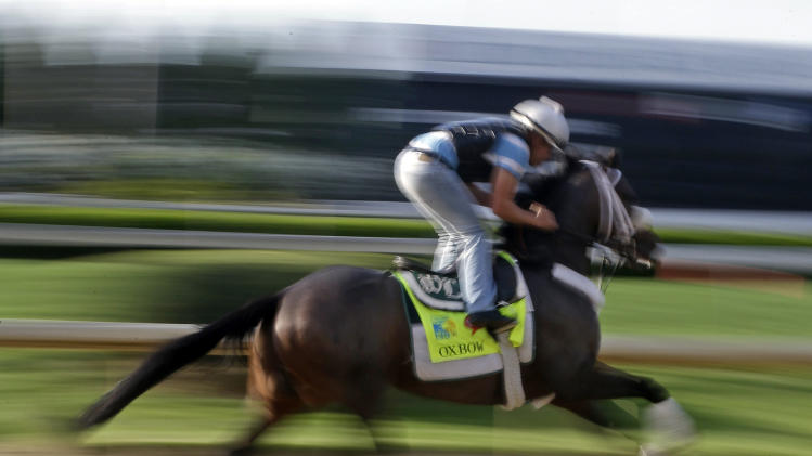 Jockey Rudy Quevedo rides Kentucky Derby entrant Oxbow for a workout at Churchill Downs Thursday, May 2, 2013, in Louisville, Ky. Saturday will be the 139th running of the Kentucky Derby. (AP Photo/Morry Gash)