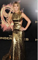 Jennifer Lawrence arrives at the premiere of 'The Hunger Games' at Nokia Theatre L.A. Live in Los Angeles on March 12, 2012  -- Getty Images