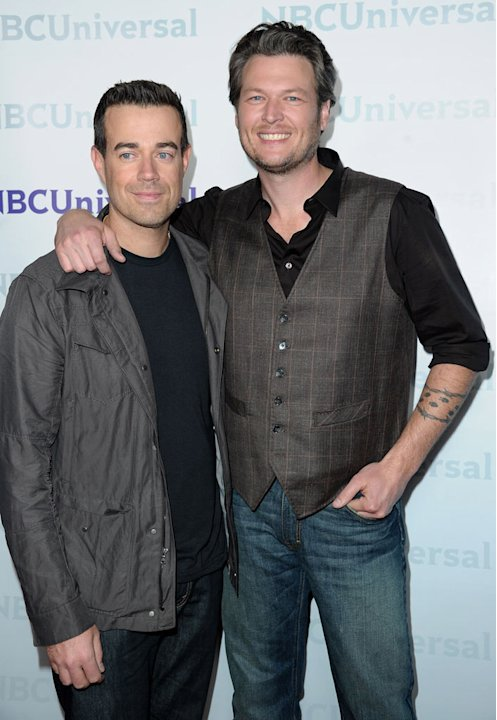 "Carson Daly and Blake Shelton (""The Voice"") attend the 2012 NBC Universal Winter TCA All-Star Party at The Athenaeum on January 6, 2012 in Pasadena, California."
