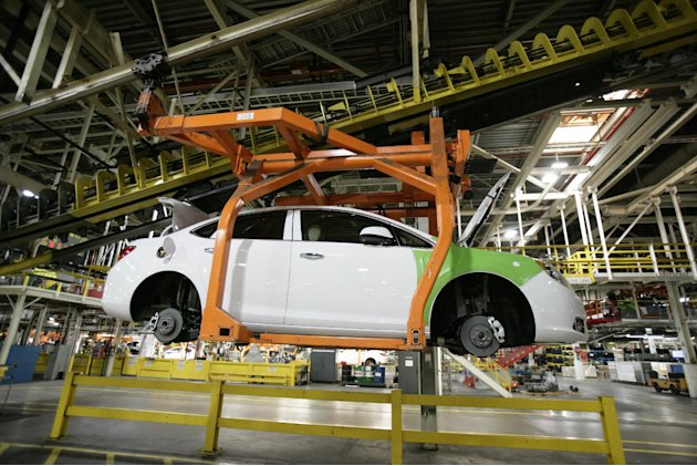 In this April 25, 2012 photo, a Buick Verano moves along the line at Orion Assembly plant in Orion Township, Mich. Nearly four years after GM filed for bankruptcy protection, the automaker is building