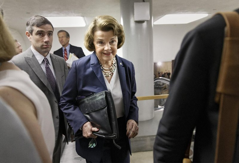 Senate Intelligence Committee Chair Sen. Dianne Feinstein, D-Calif. walks to the Senate chamber following a closed-door briefing with intelligence officials (AP Photo/J. Scott Applewhite)