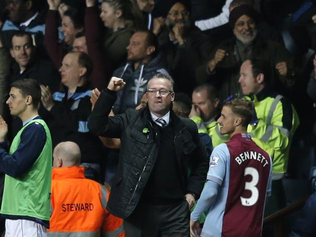 Aston Villa manager Lambert celebrates a goal during their English Premier League soccer match against Chelsea at Villa Park in Birmingham
