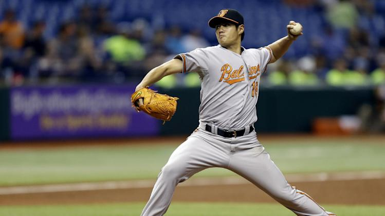 Baltimore Orioles starting pitcher Wei-Yin Chen, of Taiwan, delivers to the Tampa Bay Rays during the third inning of a baseball game, Monday, Oct. 1, 2012, in St. Petersburg, Fla. (AP Photo/Chris O'Meara)