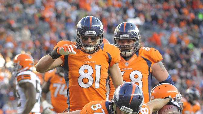 Denver Broncos wide receiver Eric Decker (87) reacts after scoring a touchdown against the Cleveland Browns in the third quarter of an NFL football game, Sunday, Dec. 23, 2012, in Denver. (AP Photo/Jack Dempsey)