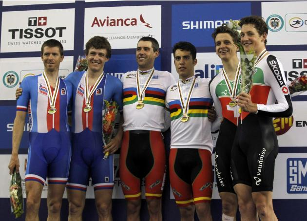 Spain's Muntaner, Torres gold medallists, Czech Republic's Blaha, Hacecky silver medallists and Swizerland's Kueng, Schir, bronze medallists pose at the podium after won in the Men's M