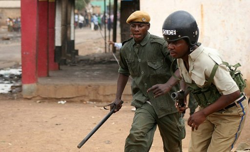 <p>Zambian police patrol the streets of Lusaka. Zambian coal miners have killed a Chinese mine manager and injured his colleague in a riot over wages at a mine known for tensions with the Chinese investor in southern Zambia, state media reported.</p>
