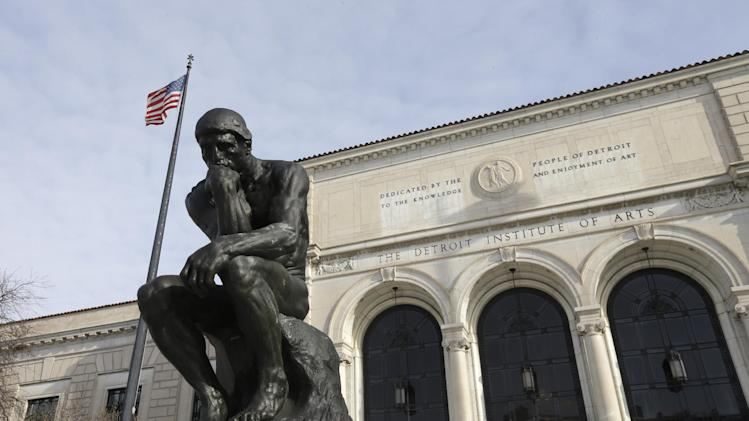 In a photo from Tuesday, Dec. 10, 2013 at the Detroit Institute of Arts in Detroit, The Thinker, a sculpture by Auguste Rodin is seen outside the art museum. Bankrupt Detroit's ability to retain or protect art masterpieces bought with taxpayer dollars during better times could come down to the generosity of strangers. New York auction house Christie's is expected this week to hand over its final report on the value of about 3,200 city-owned pieces at the Detroit Institute of Arts to state-appointed emergency manager Kevyn Orr. (AP Photo/Carlos Osorio)