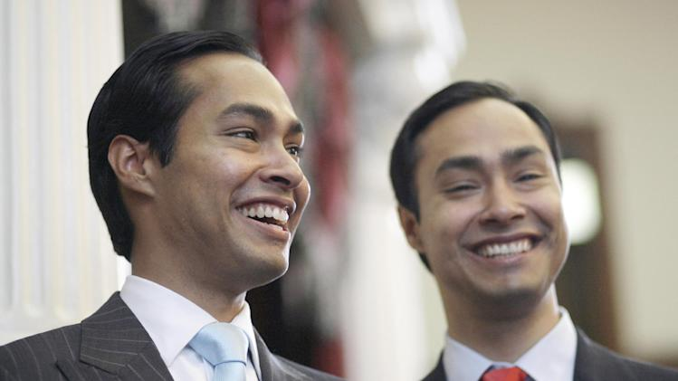 FILE - In this May 27, 2009 file photo, Julian Castro, left, mayor-elect of San Antonio, pauses during a visit with his brother, Rep. Joaquin Castro, D-San Antonio, right, in the Texas House of Representatives, in Austin, Texas. President Barack Obama's expected nomination of San Antonio Mayor Julian Castro as secretary of Housing and Urban Development could test the 39-year-old's ability to navigate Washington ahead of 2016 elections, Texas Democrats say. (AP Photo/Harry Cabluck, File)