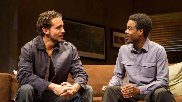 "In this theater publicity image released by Boneau/Bryan-Brown, Bobby Cannavale, left, and  Chris Rock are shown in a scene from, ""The Motherf----- With the Hat,"" in New York. (AP Photo/Boneau/Bryan-Brown, Joan Marcus)"