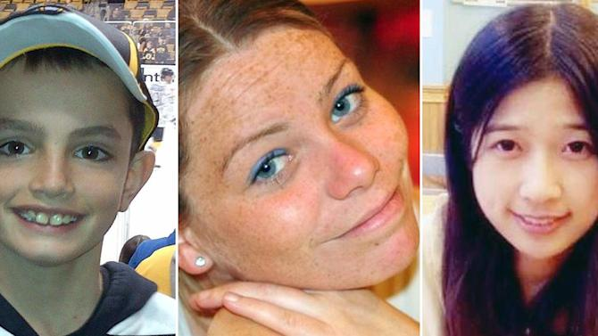 FILE - This combination of undated photos shows, from left, Martin Richard, 8, Krystle Campbell, 29, and Lingzi Lu, a Boston University graduate student. Richard, Campbell and Lu were killed in the explosions at the finish line of the Boston Marathon Monday, April 15, 2013, in Boston. (AP Photo/File)