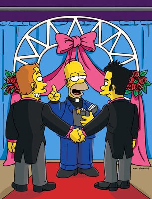 Homer (voiced by Dan Castellaneta) officiates a gay marriage in the episode 'There's Something About Marrying.' Fox's The Simpsons