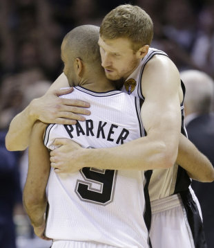 Matt Bonner's feeling very emotional right now. (AP/David J. Phillip)