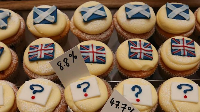 A view of cupcakes decorated with the Union and Scottish Saltire flags, and question marks, along with the results of sales, at Cuckoo's bakery, in Edinburgh, Scotland, Wednesday, Sept. 17, 2014. The bakery has been monitoring the sales of its Union and Saltire flag and undecided cupcakes for 200 days to try and predict the outcome of the referendum. 43.5 percent of sales were Yes cakes, 47.7 percent No, and 8.8 percent undecided.  (AP Photo/Scott Heppell)