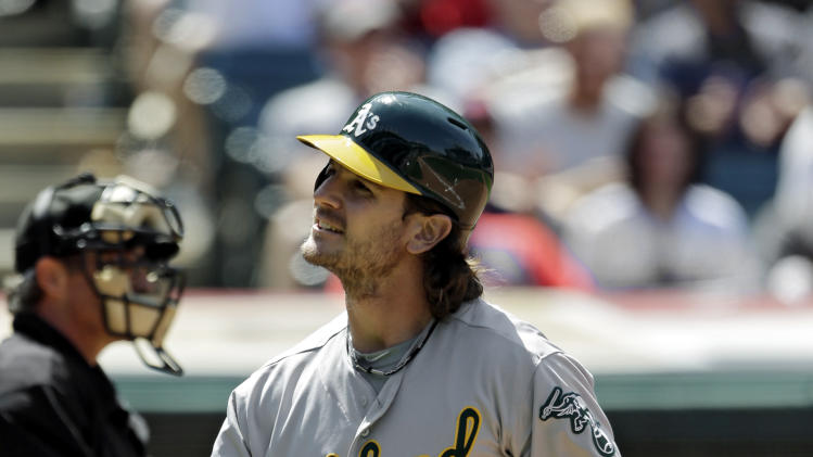 Oakland Athletics' John Jaso reacts after striking out against Cleveland Indians relief pitcher Cody Allen with the bases loaded in the eighth inning of a baseball game Thursday, May 9, 2013, in Cleveland. The Indians won 9-2 to sweep the four-game series with Oakland. (AP Photo/Mark Duncan)