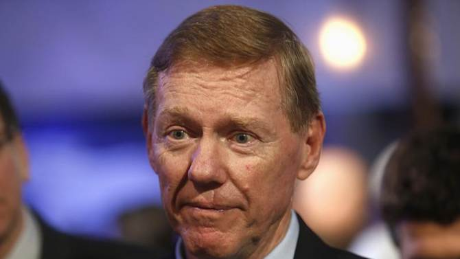 Ford Motor Co. CEO Mulally attends gathering with members of media at Ford Conference Center in Dearborn,
