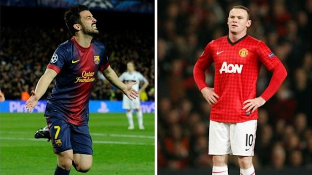 David Villa (FC Barcelone) Wayne Rooney (Manchester United)