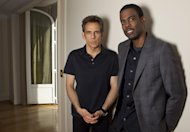 Actors Chris Rock, right, and Ben Stiller pose for photographs following an interview with The Associated Press for Madagascar 3: Europe's Most Wanted at the 65th international film festival, in Cannes, southern France, Thursday, May 17, 2012. (AP Photo/Joel Ryan)