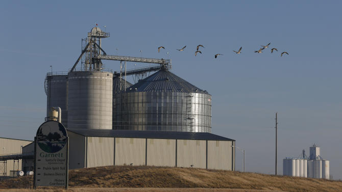 In this Feb. 5, 2013 photo geese fly by the East Kansas Agri-Energy ethanol plant in Garnett, Kan. that suspended production last year.  Corn growers had high hopes going into the 2012 planting season but the drought that began last spring hit the corn crop hard. As a result, corn prices skyrocketed and corn has become scarce in some regions, forcing 20 ethanol plants around the country to halt production. Most are not expected to resume production until after 2013 corn is harvested in late August or September.  (AP Photo/Orlin Wagner)