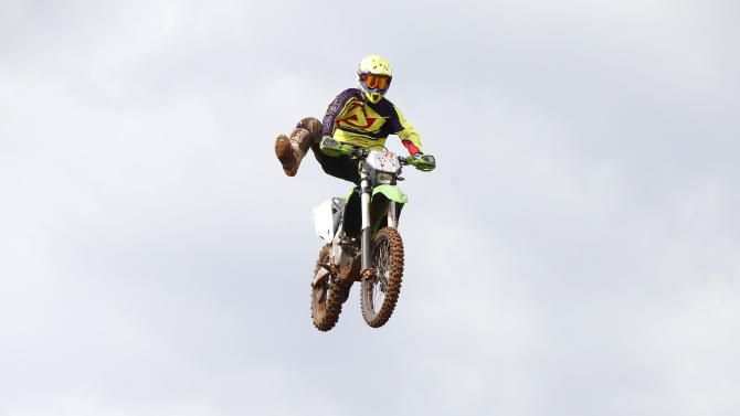 Riders practice during the launch of Israel's first official motocross course in Wingate Institute, Israel's National Centre for Physical Education and Sport, near Netanya