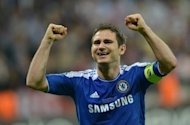 Chelsea midfielder Frank Lampard celebrates after the Champions League final win against Bayern Munich on May 19. England are hoping to exploit the feel-good factor created by Manchester City and Chelsea triumphs at home and abroad as a new era under Roy Hodgson kicks off against Norway on Saturday